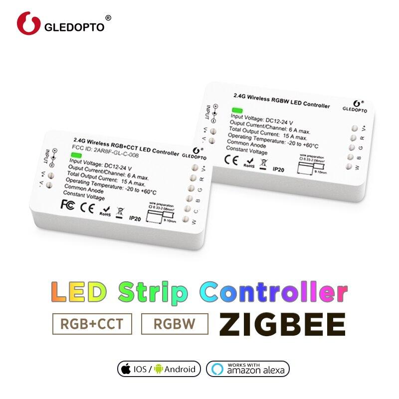 Hause smart zigbee controller kompatibel mit echo plus smartthings Stimme Gesteuert RGB + CCT farbe DC12-24V arbeit mit zigbee hub