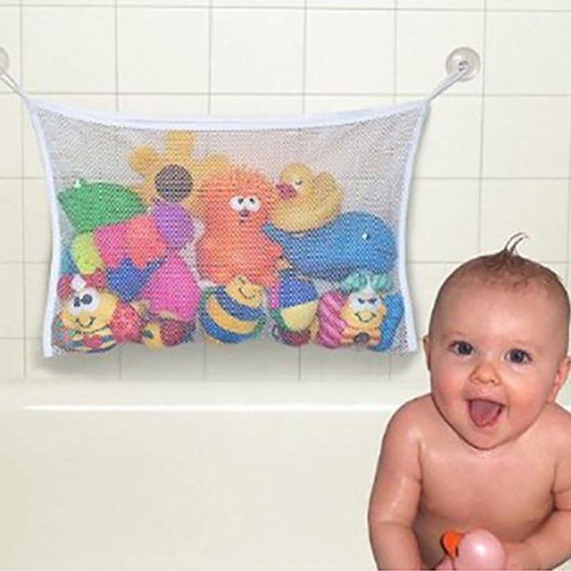 Kids Baby Bath Tub Toy Tidy Storage Suction Cup Bag Mesh Bathroom Organiser Net Organizer Storage Ba