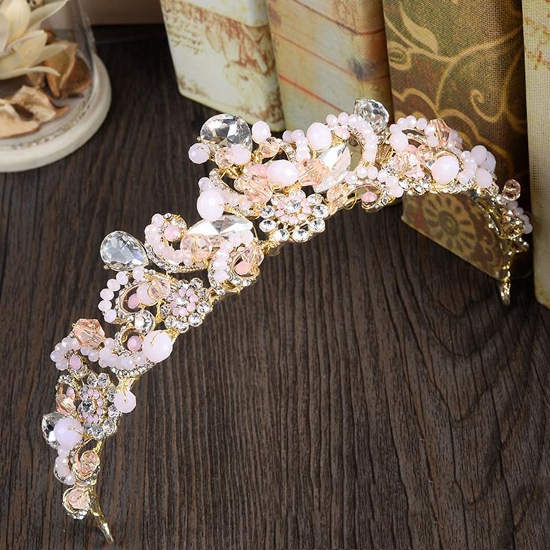 Tiara rosa, corona dorada para novias, accesorios para el cabello para mujeres, diadema de boda, diadema nupcial, adornos para la cabeza, joyería