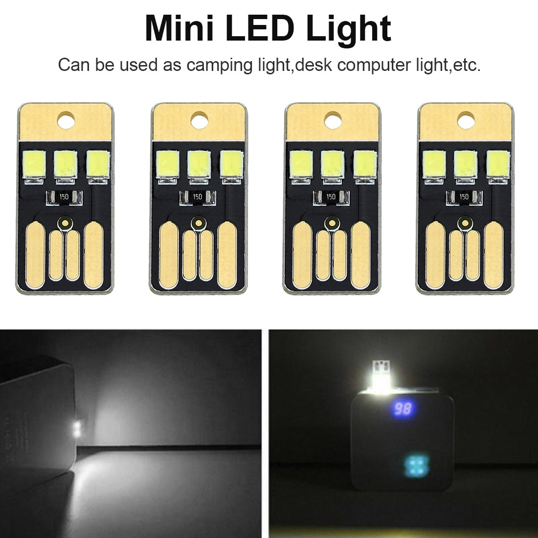 USB Power 5pcs Night Lamp Mini Pocket Card LED Keychain Night Light 0.2W USB LED Bulb Book Light For Laptop PC Powerbank
