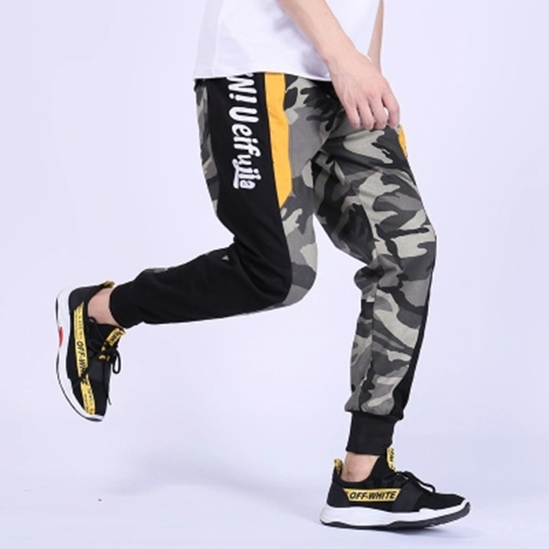 Casual Fashion Men Pants Camo Patchwork Harem Streetwear Mens Joggers Pants Track Loose Trousers Man Hip Hop Calca Masculina