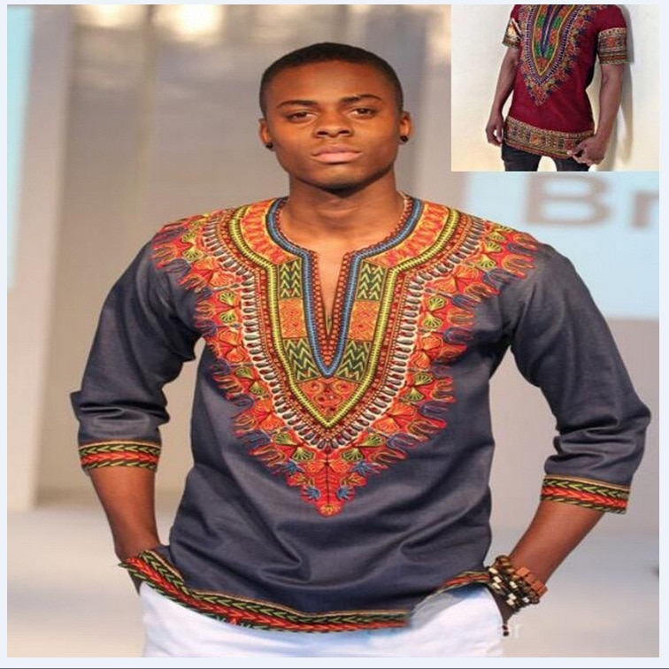 2019 Polyester Clothing Hot Sale New Arrival Men National african Printing Seven Sleeve T-shirt