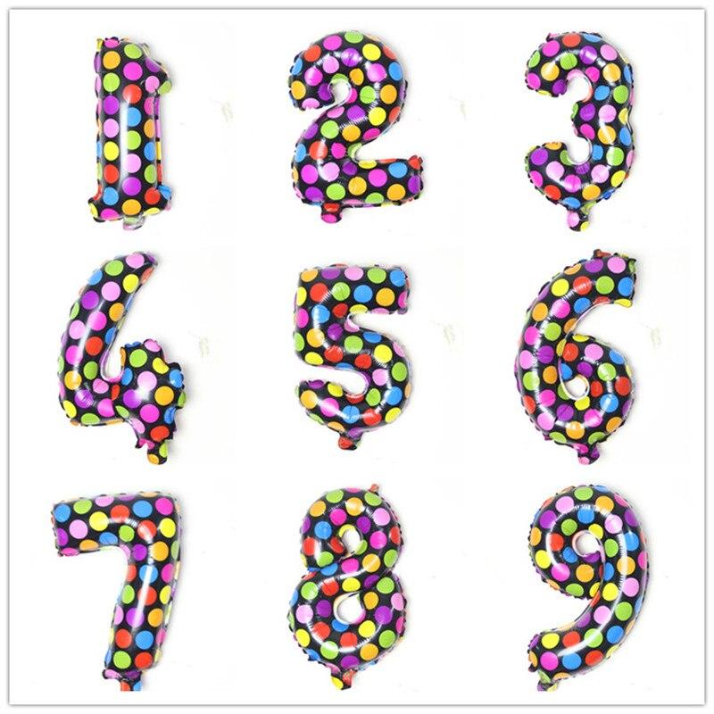 16 pulgadas número de puntos globos de papel de aluminio decoración de fiesta de cumpleaños niños juguetes inflables boda proveedores bolas de aire
