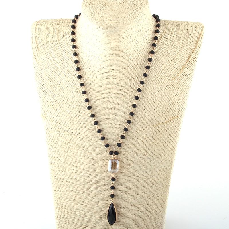 MOODPC moda Bohemia joyería 6mm vidrio Rosario cadena enlace cristal gota colgante collares para mujer collar