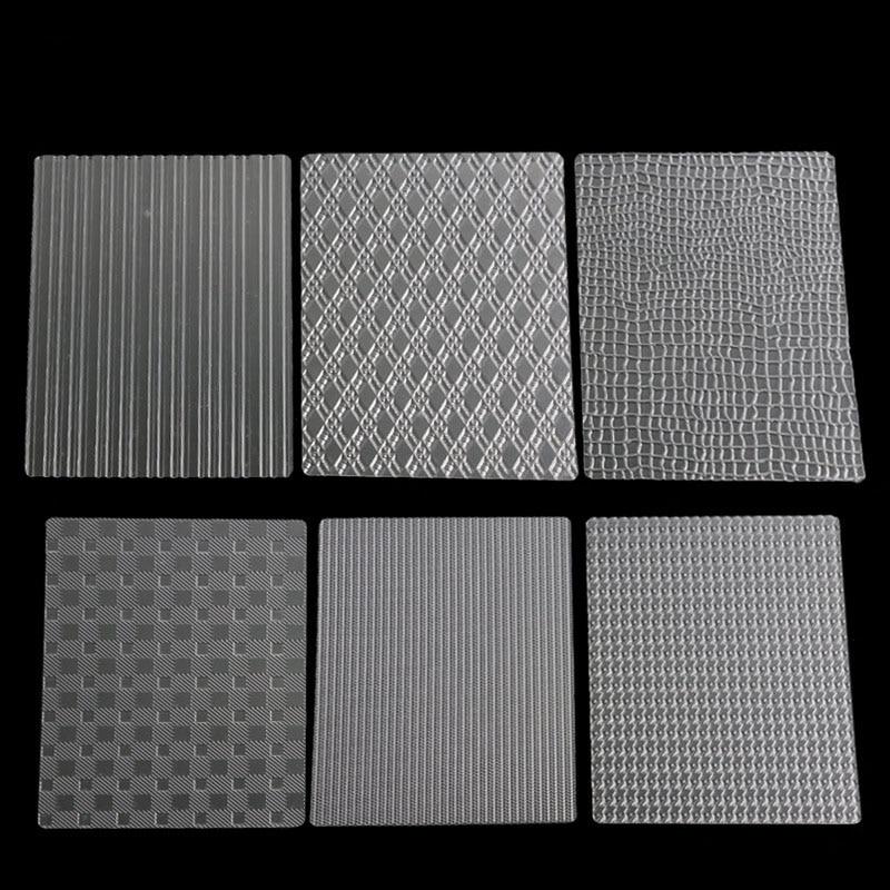 6 Pcs Sugar Craft Printing Die Lattice Border Decor Tools Cake Mold Transparent Texture Mat Bag Stripe