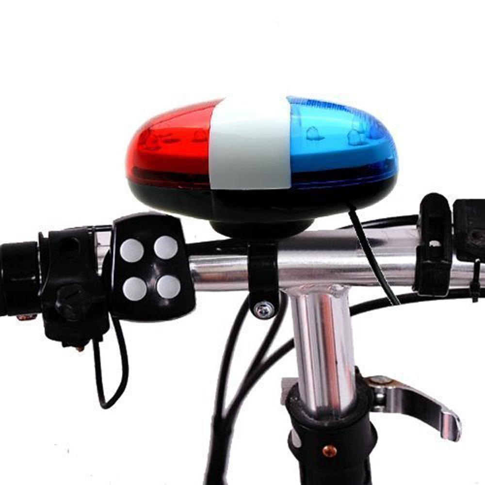 Bicicleta da polícia frente luz aviso sirene ciclismo chifre elétrico sino 6 led 4 sons