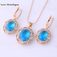 Love Monologue Romantic Heart Blue Sky Crystal Cubic Zirconia Yellow Gold Color Drop Earring Pendant 3 Pcs Jewelry Sets X0036