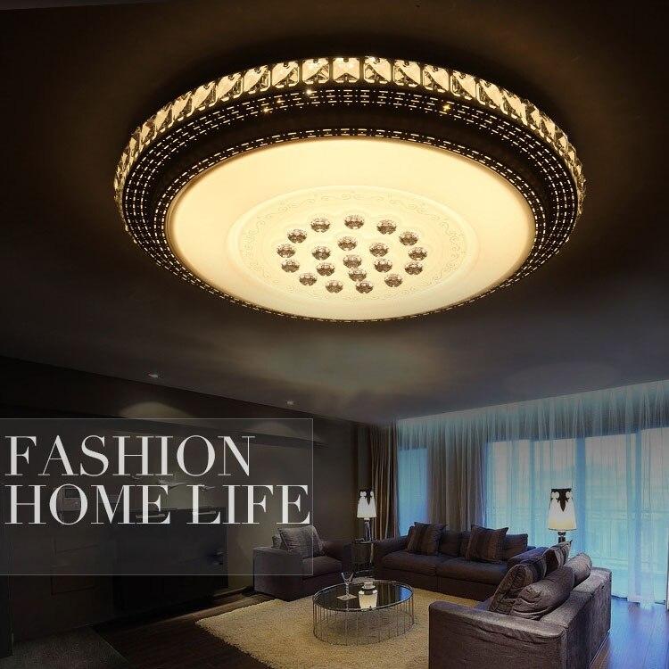 Lámpara de techo de cristal de lujo, luz led redonda K9, diseño...
