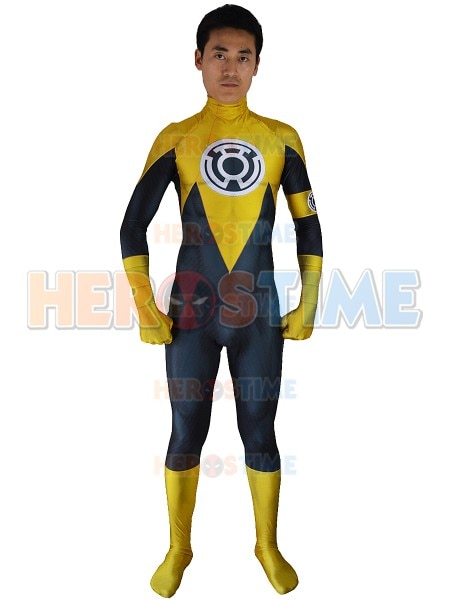 3D Print Yellow Lantern Cosplay Costume Custom Made Lantern Sinestro Corps Adult Kids Lycra Superhero Bodysuit Green Lantern