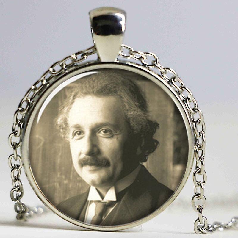 1pcslot Albert Einstein necklace Geek Pendant necklace glass Photo Physics necklace