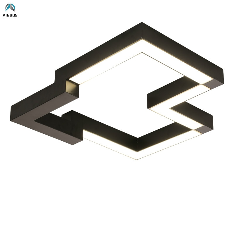 Nordic Geometrische Verf Zwart/Wit Metalen Led Plafond Lamp Slaapkamer Afstandsbediening Dimbare Plafondlamp Lustre Luminarias