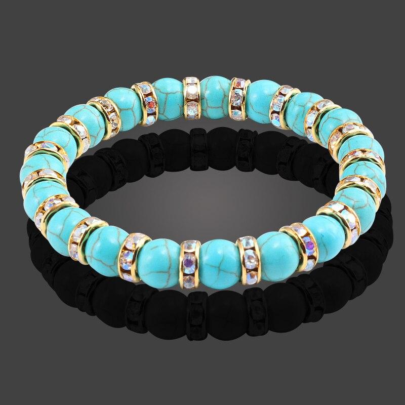 Crystal Mixed Natural Blue White Beads Bracelets for Women Handmade Stone Jewelry Buddha Strand Bracelet Reiki Bangles Pulseiras