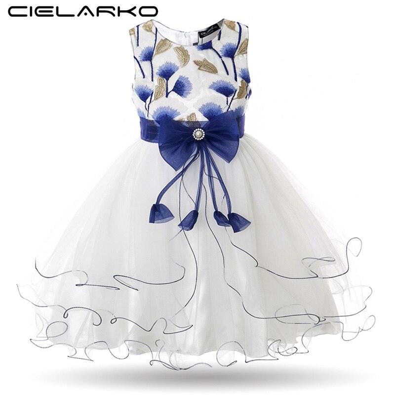Vestido de niña Cielarko con bordado de Gingko, Vestidos de fiesta para niños, Vestidos de fiesta de boda para bebés, Vestidos de malla para niños, Vestidos de graduación para niña
