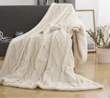 Couverture tricotée à Double couche Sherpa 150x200cm   Plaids en molleton et peluche pour lits, couvre-lit de canapé, tricot Mantas