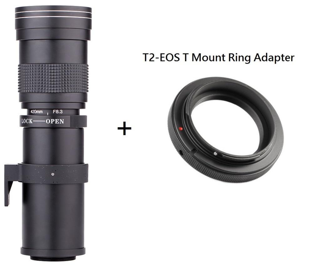 Lightdow 420-800 ملليمتر F/8.3-16 سوبر تليفوتوغرافي دليل عدسات تكبير + T2 جبل خاتم محول ل كاميرا كانون EOS DSLR كاميرا EF EF-S جبل عدسة