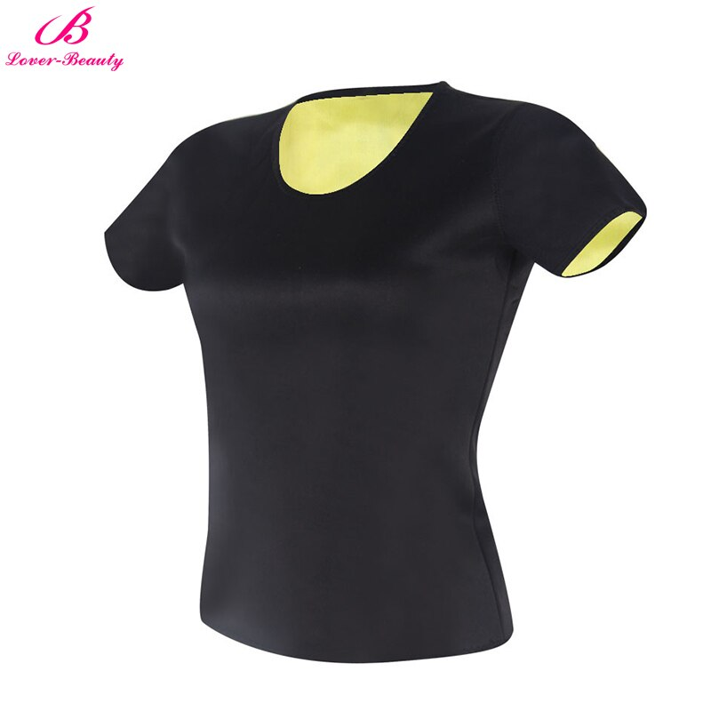 Lover-Beauty Slim Shapewear mujeres Camiseta de manga corta Tops neopreno adelgazamiento Tee entrenamiento Fitness termo quema de grasa Shaper