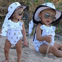 Infant Baby Mädchen Baumwolle Weiß Strampler Anker Körper Sleeveless Overall Outfits Sunsuit Rüschen Kleidung