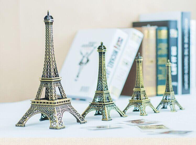 Estatuilla de la Torre Eiffel de París estatua Vintage Metal modelo Decoración