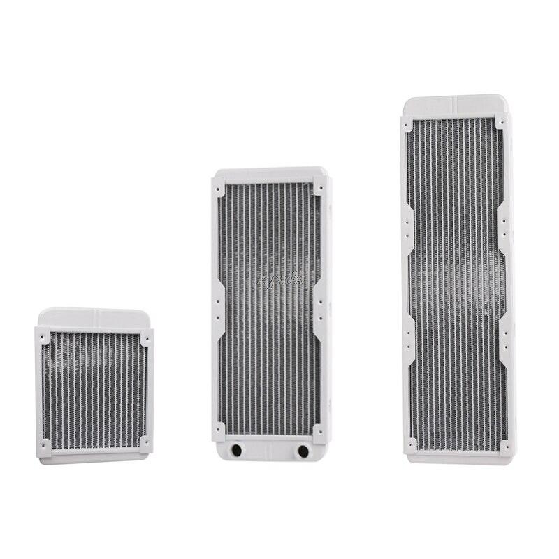 1 ud. Radiador blanco 120/240/360mm de aluminio para refrigeración por agua radiador enfriador de agua 18 tubos CPU disipador de calor intercambiador Drop Ship