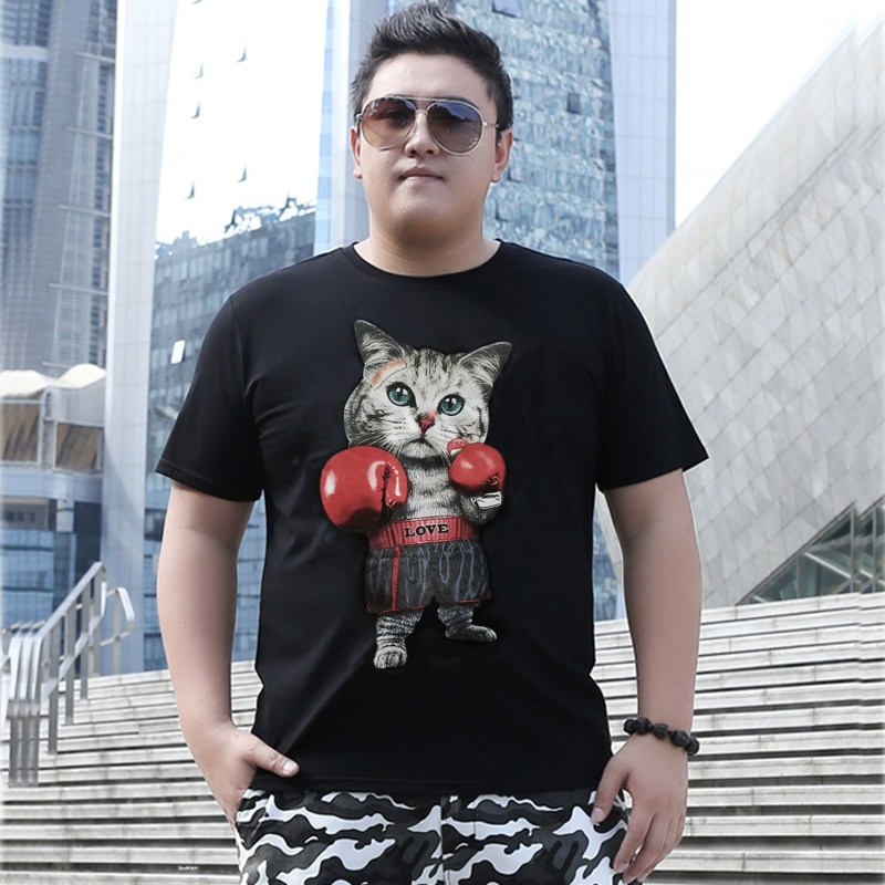 85 envío gratis camiseta de talla grande versión masculina para tallas grandes europeas camisetas 8xl algodón cuello redondo Camiseta de manga corta gato estampado para 150kg