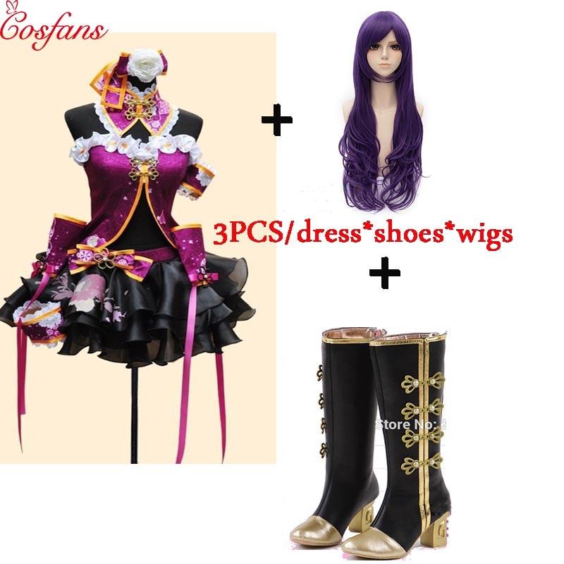 2018 nouveau amour Live Tojo Nozomi violet robe LoveLive Cheongsam Cosplay Costume avec des chaussures perruque amour live cosplay aqours Halloween