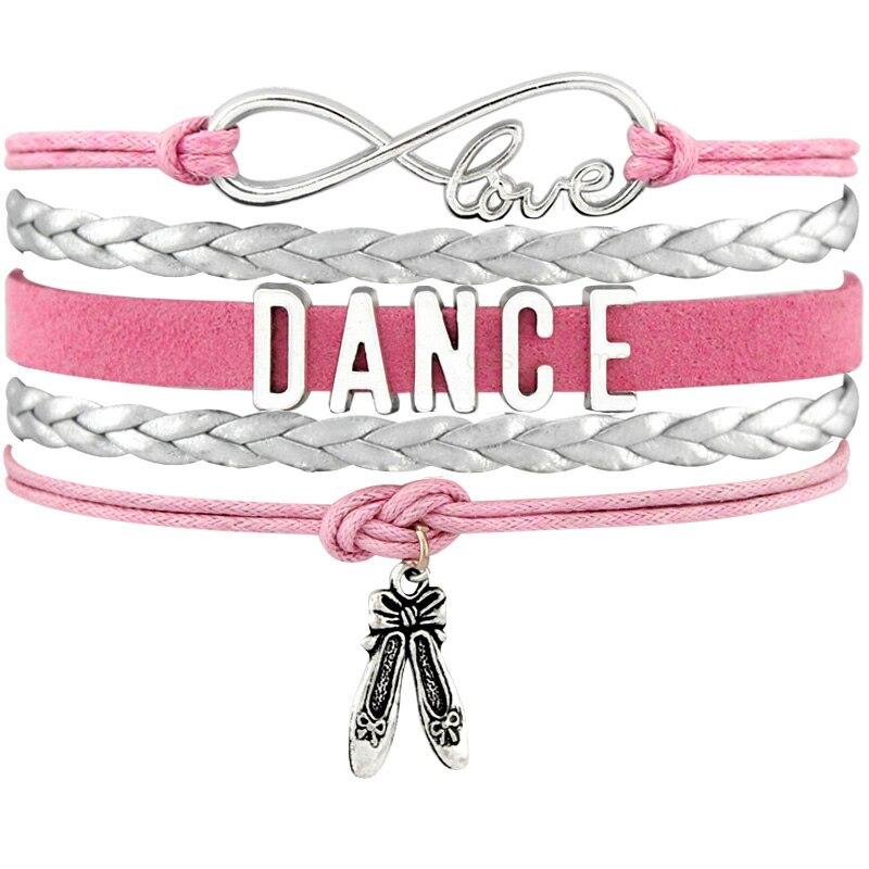 Dance Dancer Ballet Shoes Heart Infinity Love Charm Bracelets Antique Silver Handmade Pink Jewelry Women Men Gift Drop Shipping