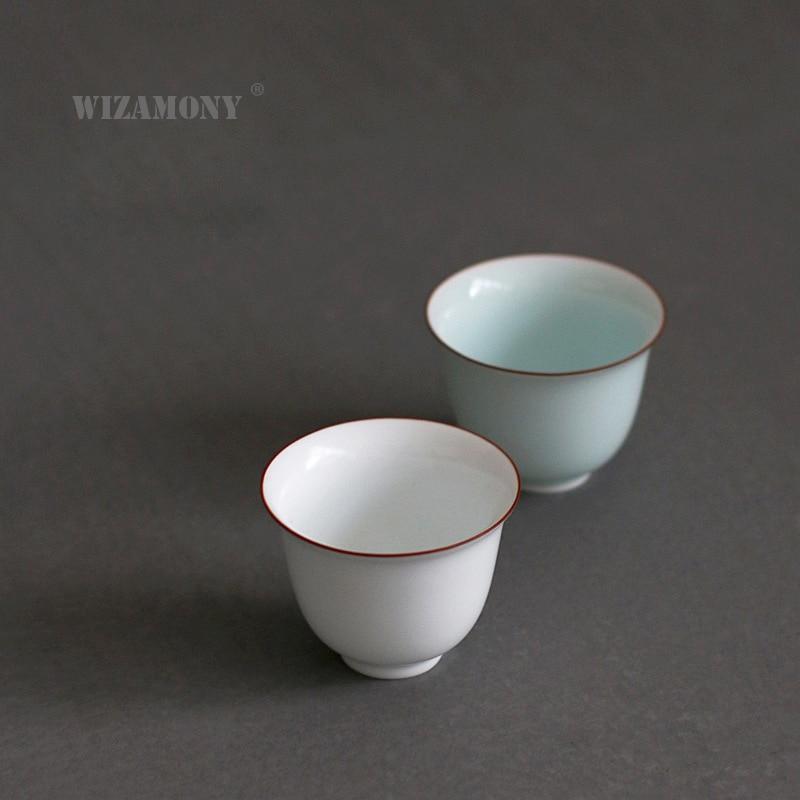3 uds WIZAMONY, vajilla de cerámica blanca para té puer Oolong, porcelana china, celadón hecho a mano, juego de té Jingdezhen Kung Fu, tazón de taza