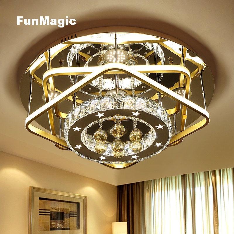 Pós-moderno Estrela Anel de Diamante Romântico Cristal Brilhante LEVOU Luzes de Teto Sala de estar Quarto Iluminação Rodada Superfície de Montagem Da Lâmpada
