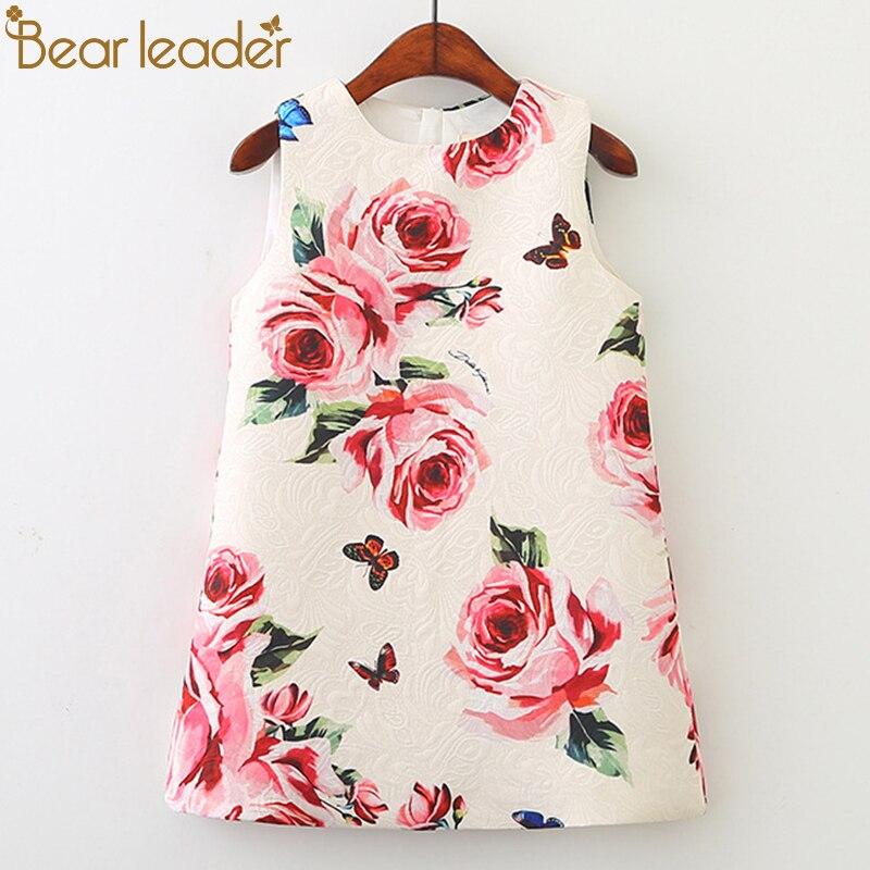 Vestido de niña líder de oso 2020 nueva ropa de primavera para niños ropa de niños marca Rosa Flores estampado sin mangas vestido de fiesta para niña