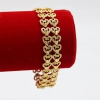 2 rows heart link wrist chain yellow gold filled classic mens womens bracelet gift