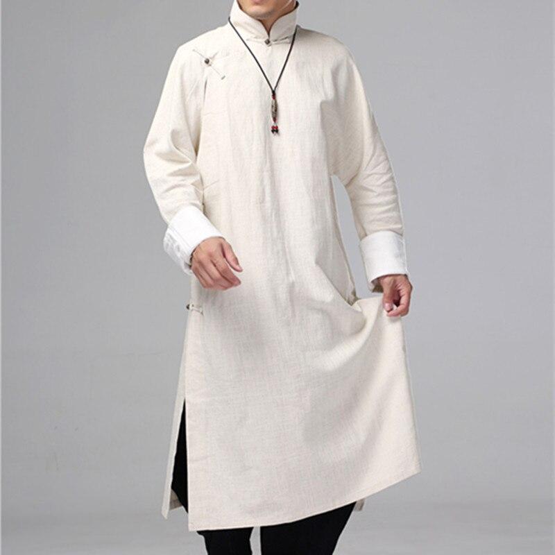 Helisopus Mannen Linnen Lange Jurk Traditionele Chinese Kung Fu Linnen Shirt Casual Vintage Mannelijke Een Stuk Kleding