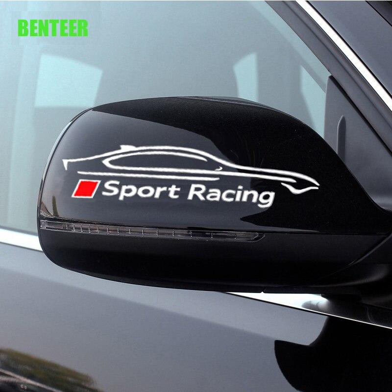 2 шт. Спортивная Автомобильная наклейка на зеркало заднего вида для Audi A1 A3 A4 A6 A6L A7 A8 Q3 Q5 Q7 TT S RS3 RS4 RS5 RS6 RS7 RS8