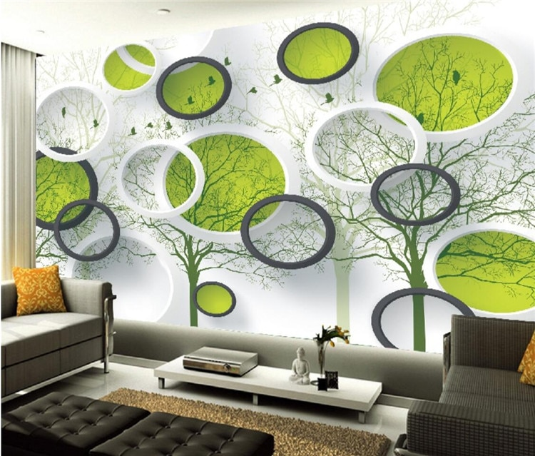 5d círculo tridimensional personalizado mural estudio no tejido pared papel 3d relieve madera sala de estar TV Fondo pared paño