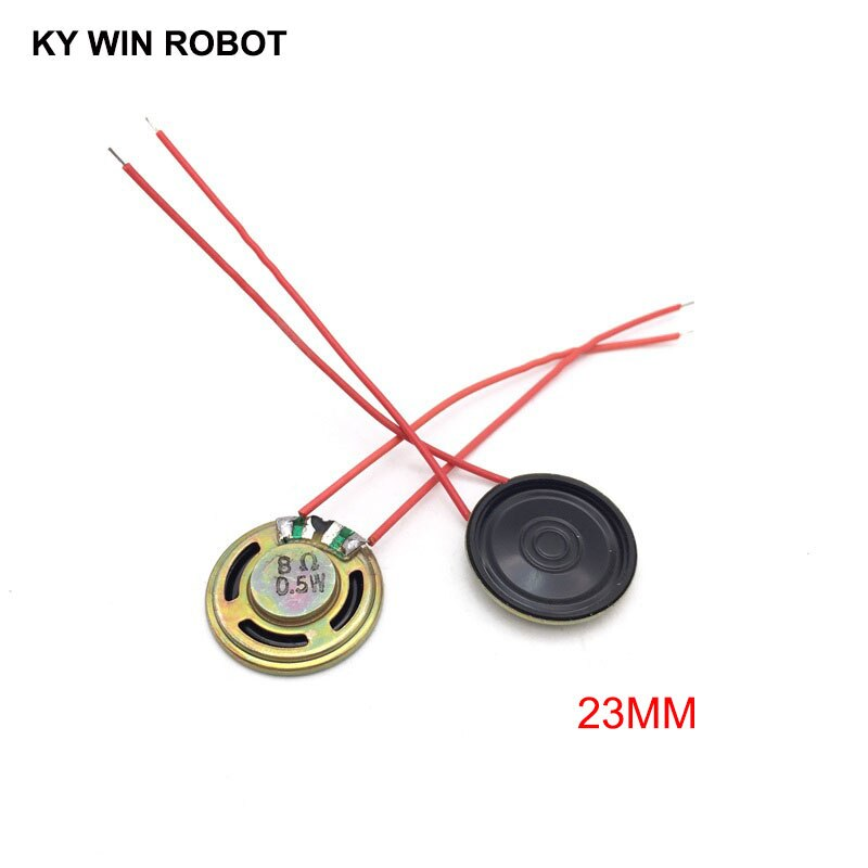 2pcs/lot New Ultra-thin Speaker 8 ohms 0.5 watt 0.5W 8R Diameter 23MM 2.3CM Thickness 5MM With Wire