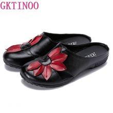 GKTINOO 2019 été en cuir véritable femmes pantoufles couverture orteils à la main fleur Style Vintage femmes diapositives à plat avec des chaussures