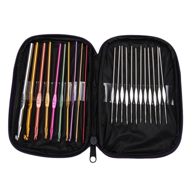 22 unids/set conjunto de ganchillo agujas de tejer de aluminio manualidades de tejido con bolsa DIY artesanía Multi-color ganchos de ganchillo