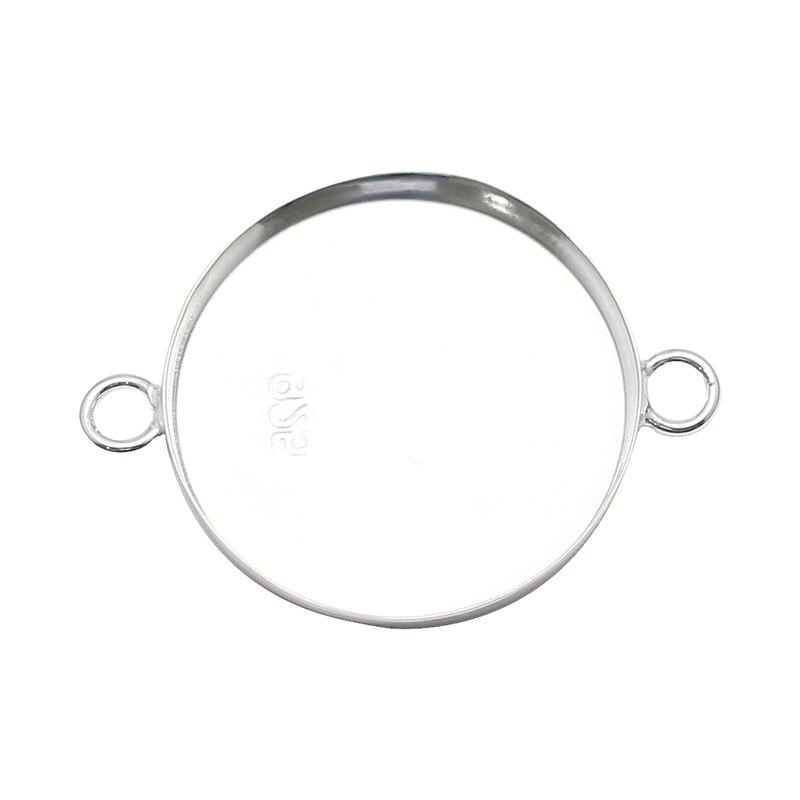 Beadsnice 925 joyería de plata esterlina círculo moneda bisel colgante de pulsera conectores Diy Fabricación de suministro al por mayor ID37557smt4