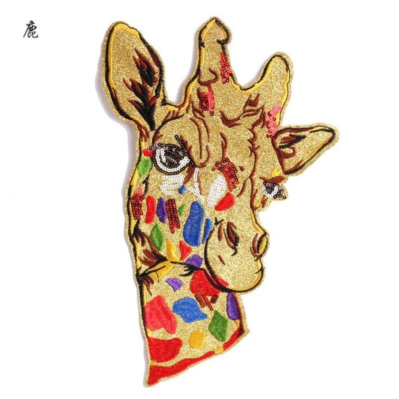 Parches para coser de jirafa y flores de gran tamaño, pegatina de tela para insignia para ropa, parche bordado, apliques para chaqueta vaquera DIY