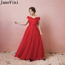 JaneVini Nedime robe élégante femmes pour la fête de mariage rouge dentelle longueur de plancher demoiselle dhonneur robes de grande taille longues femmes robe formelle
