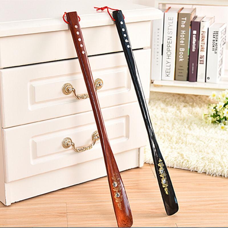 Profesional, largo de madera con mango, zapato elevador de cuerno, 55 cm, Ultra largo, artesanía de caoba, madera wenge, zapato de cuerno, Color aleatorio