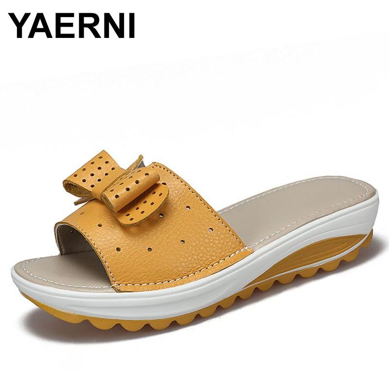 YAERNI 2017 New Women's  Cow Leather Women Flats Shoes Platform Wedges Female Slides Beach Flip Flops Summer Shoe Lady 35-42