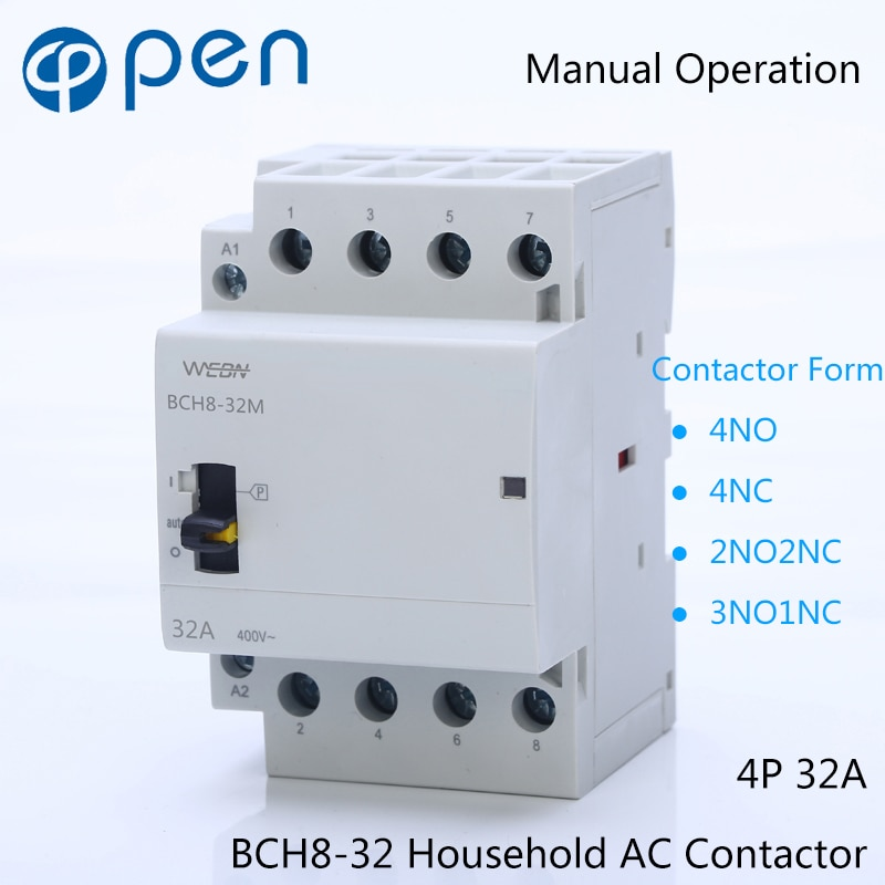 Contacteur de ménage AC   Série 4P 32A, fonctionnement manuel, 230V/250V 50/60Hz Contact 4NO/2NO2NC/3NO1NC/4NC Din Rail