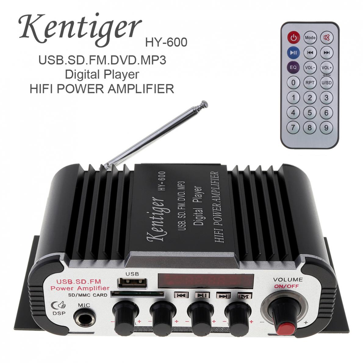 Kentiger HY-600 2CH HI-FI Car Audio Power Amplifier FM Radio USB MP3 Stereo Digital Player Support U disk SD / MMC card