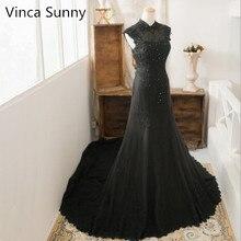 Seksowne czarne suknie wieczorowe syrenka długie frezowanie prawdziwe zdjęcie seksowna koronkowa suknia na szyję sukienki na przyjęcie Robe de Soiree
