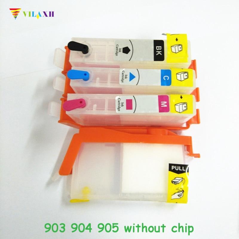 Vilaxh recargable 903 reemplazo de cartucho de tinta para HP 903 de 904, 905 xl 903xl OfficeJet Pro 6960, 6961, 6964, 6970, 6950 sin chip
