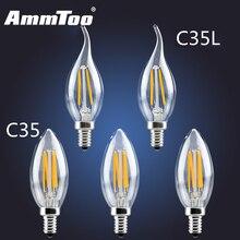 E14 LED Filament Light Glass Housing Bulb 220V 110V 120V 2W 4W 6W Ampoule Led Lamp 360 Degree Chandelier Replace Incandescent
