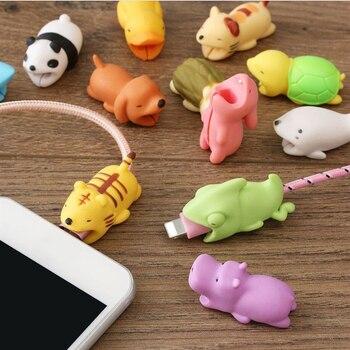 Защитный кабель в форме милых животных, Мягкий силикон, защита от поломки, кабель для передачи данных, аксессуары для сотовых компьютеров, мобильный телефон