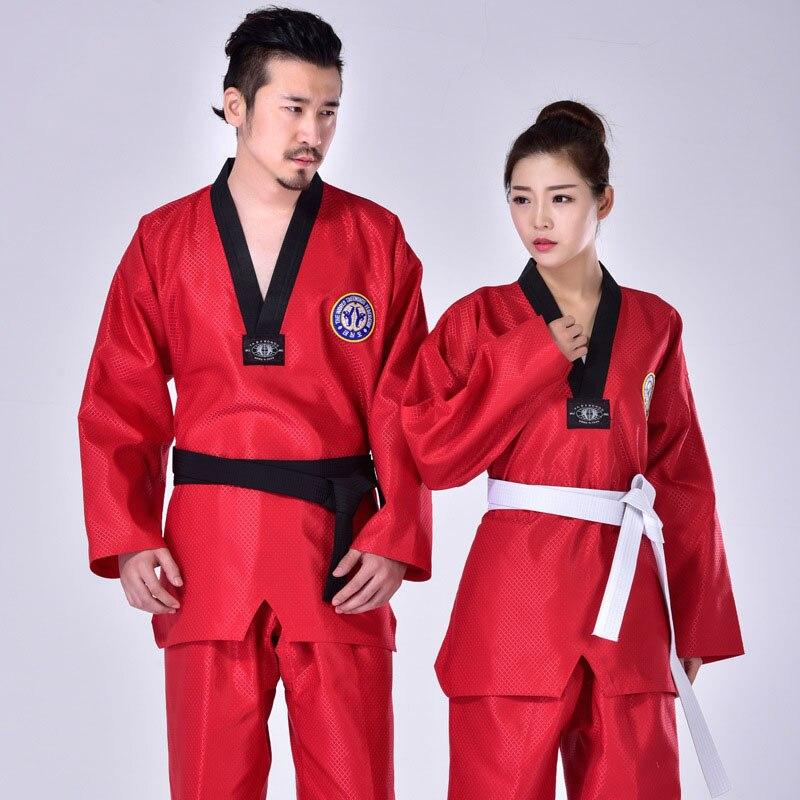 3 Colors Taekwondo Uniform Clothes Martial Arts Red Suite Kids Adult Student Tae kwon do dobok approve Black V-Neck clothing F