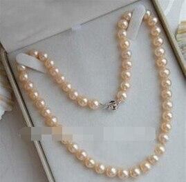 "LL <1631 genuino NATURAL AKOYA rosa perla collar 7-8 MM 18"""