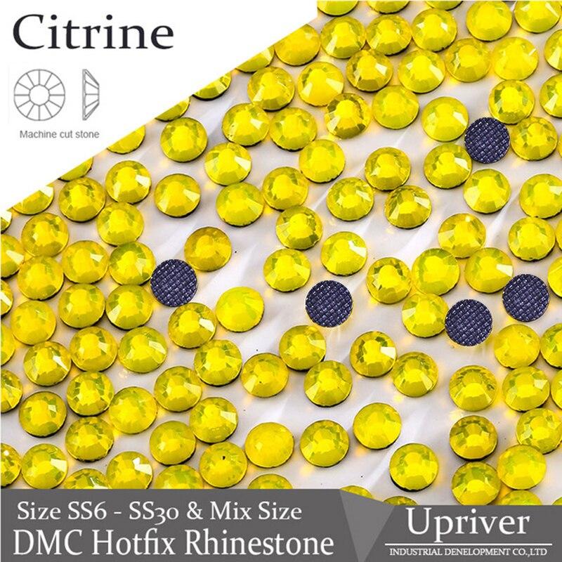 Riuver DMC Hotfix Rhienstones Glitter Glass Strass citrino máquina de corte DIY gemas